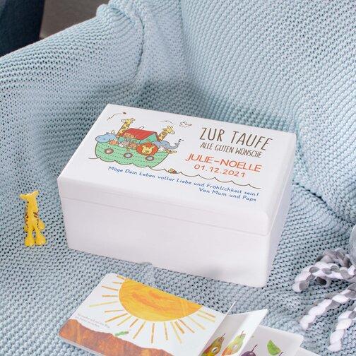 Geschenkbox Taufe Arche Noah Weiß